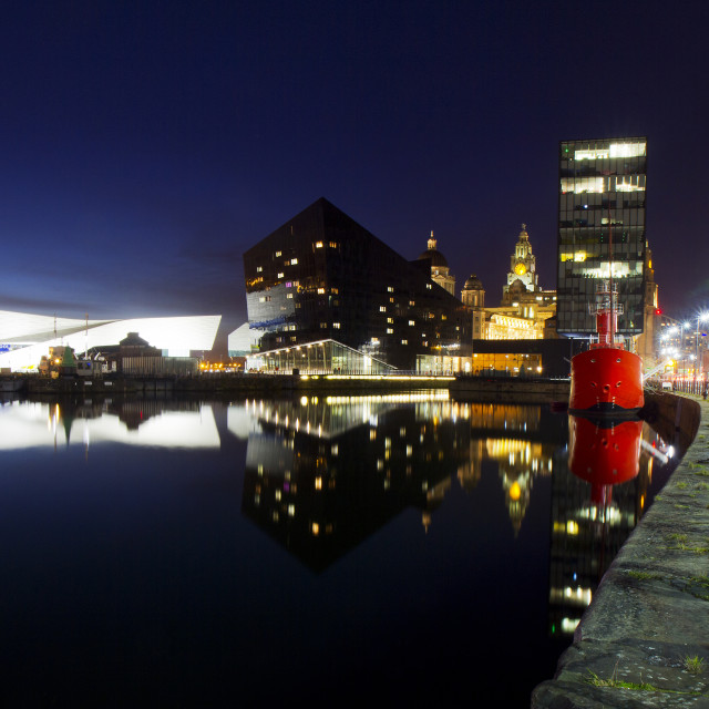 """Liverpool Waterfront at Night"" stock image"