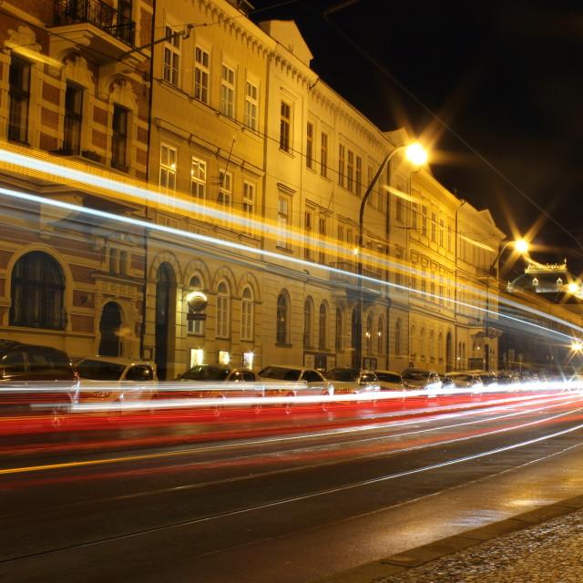 """Tram streak lights in Prague"" stock image"