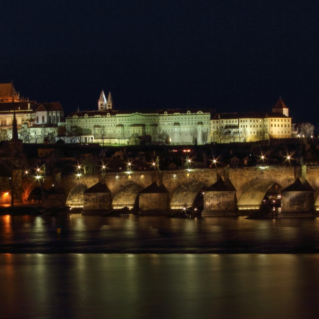 """Prague Castle at night"" stock image"