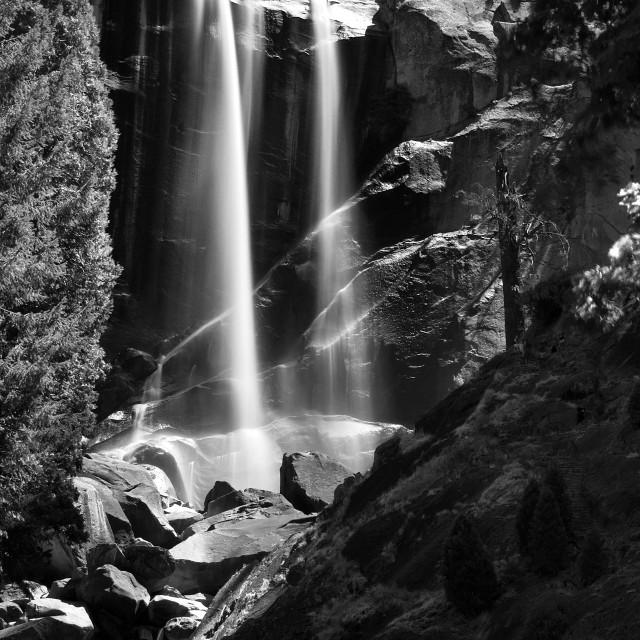 """Lower Yosemite Falls (B+W)"" stock image"