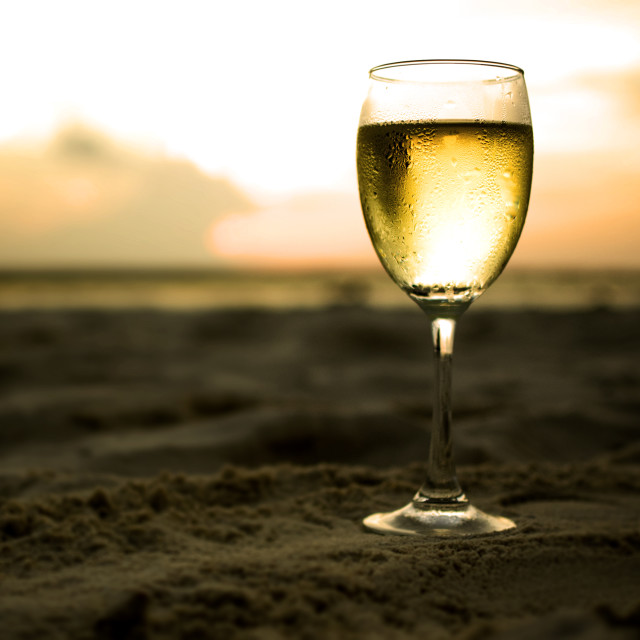 """white wine sunset"" stock image"
