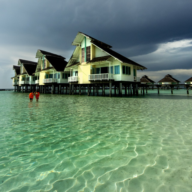 """water bungalows on stilts"" stock image"