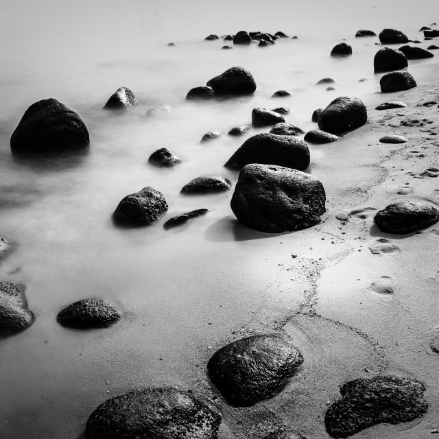 """""""Boulders on the Beach"""" stock image"""
