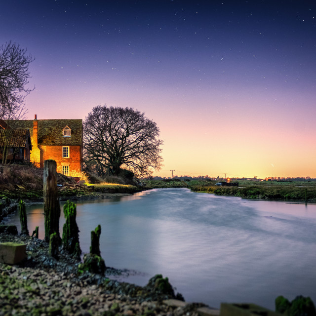 """Starlit View of Landermere Quay"" stock image"