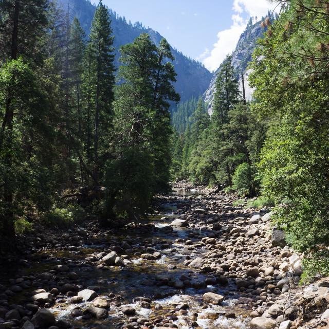 """Bottom of Lower Yosemite Falls"" stock image"