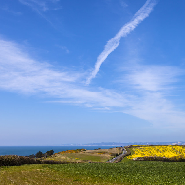 """Blue sky over the Dorset Coast"" stock image"