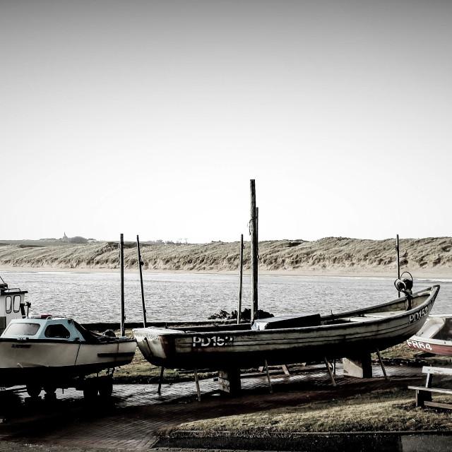 """Retro harbour landscape"" stock image"