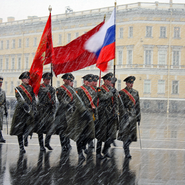 """Soldiers marching in Palace Square St. Petersburg"" stock image"