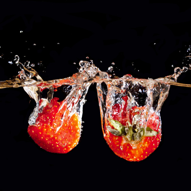 """strawberries splashing"" stock image"