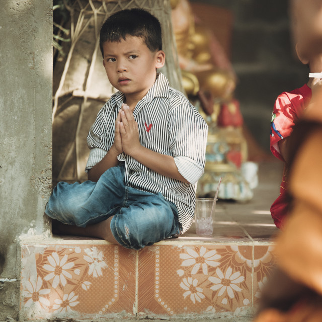 """Little boy praying"" stock image"