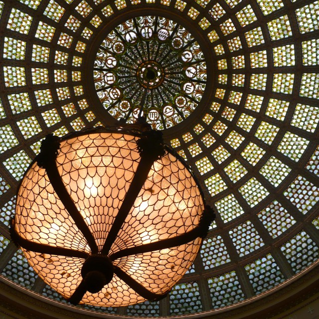 """""""Tiffany chandelier Chicago Cultural Center"""" stock image"""