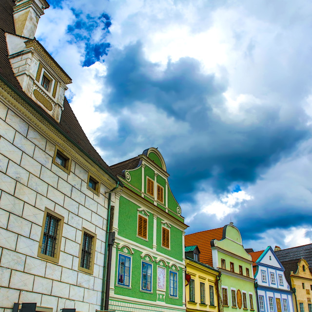 """""""Historic architecture in the center of Cesky Krumlov"""" stock image"""
