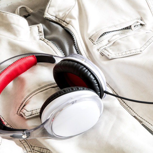 """Headphones on a white Jacket"" stock image"