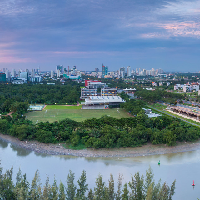 """Panorama of Saigon Skyline - red brigde"" stock image"