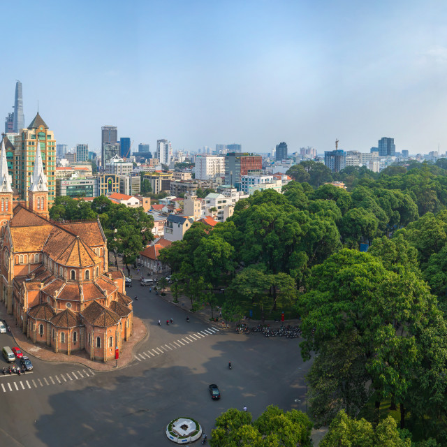 """Panorama of Saigon Skyline - Center Duc Ba Church"" stock image"