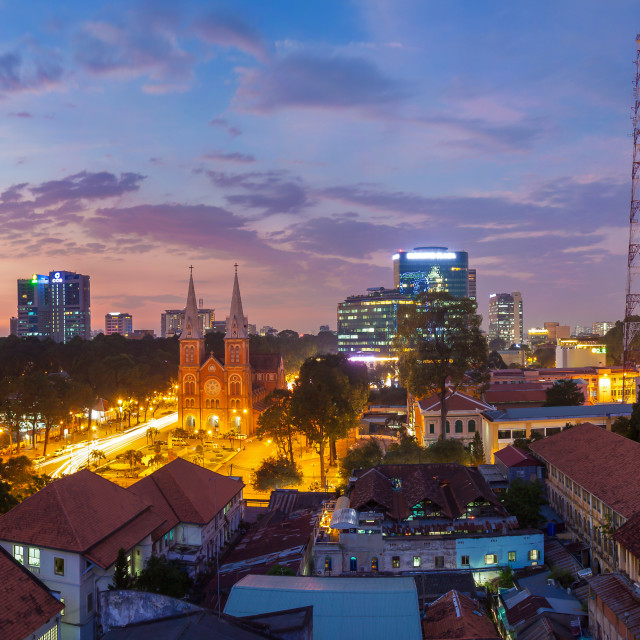 """Panorama of Saigon Skyline - Ho Chi Minh City at night"" stock image"