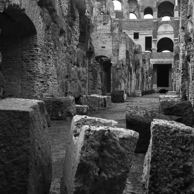 """The Colosseum Basement, Rome"" stock image"