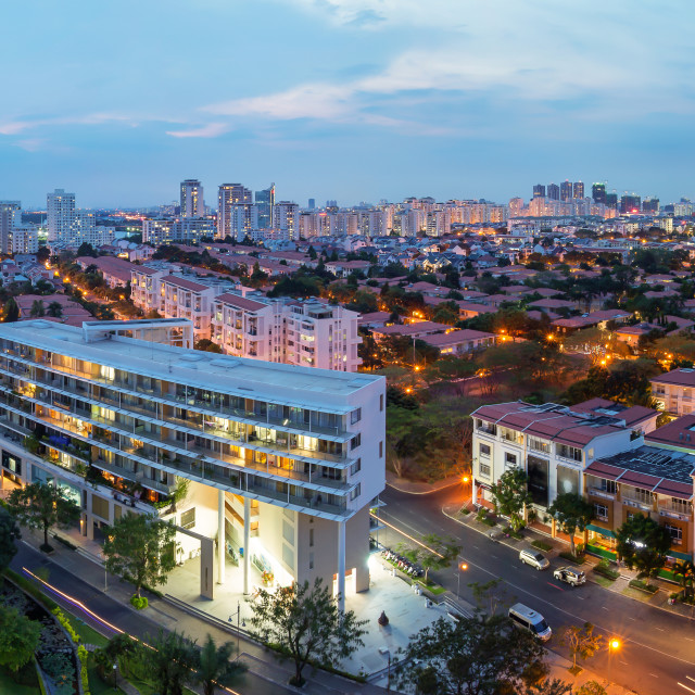 """Panorama of Saigon Skyline - Ho Chi Minh City Phu My Hung"" stock image"