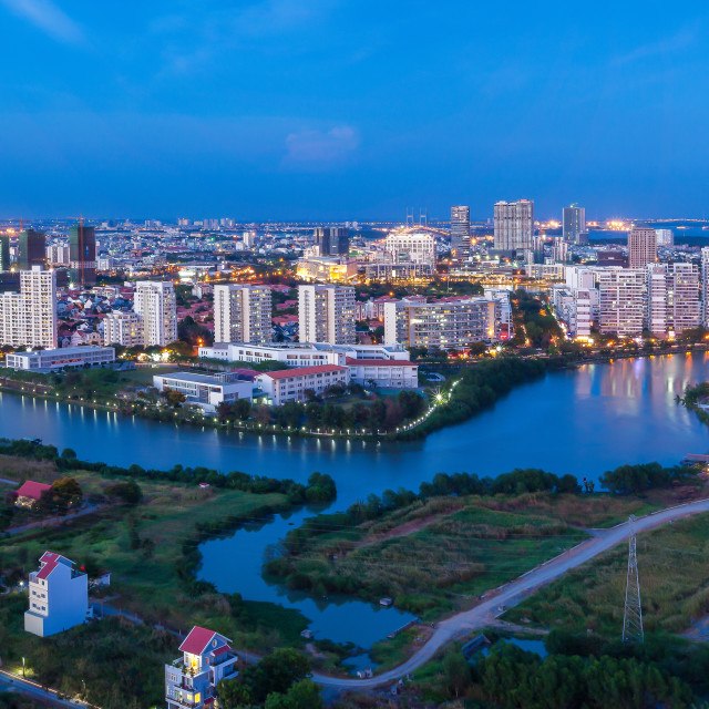 """Panorama of Saigon Skyline -Phu My Hung"" stock image"