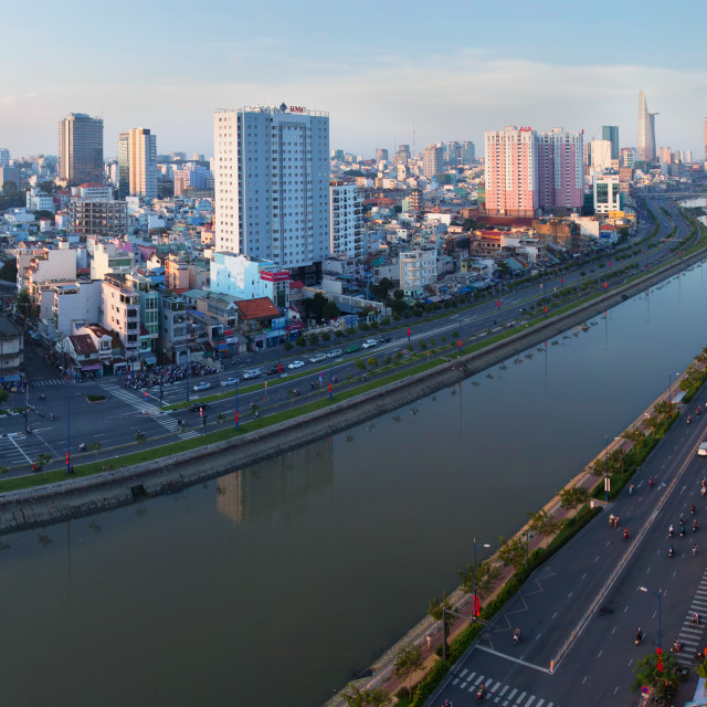 """Panorama of Saigon Skyline - East West highway"" stock image"