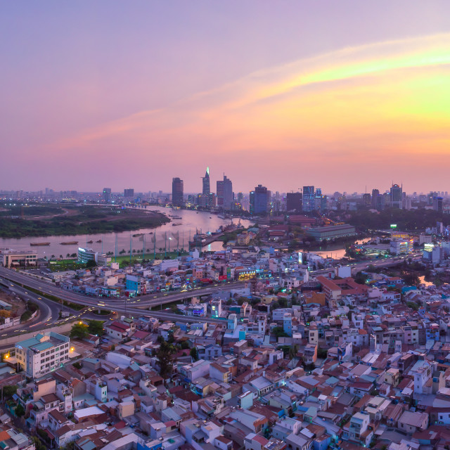 """Panorama of Ho Chi Minh City - Thu Thiem Bridge"" stock image"