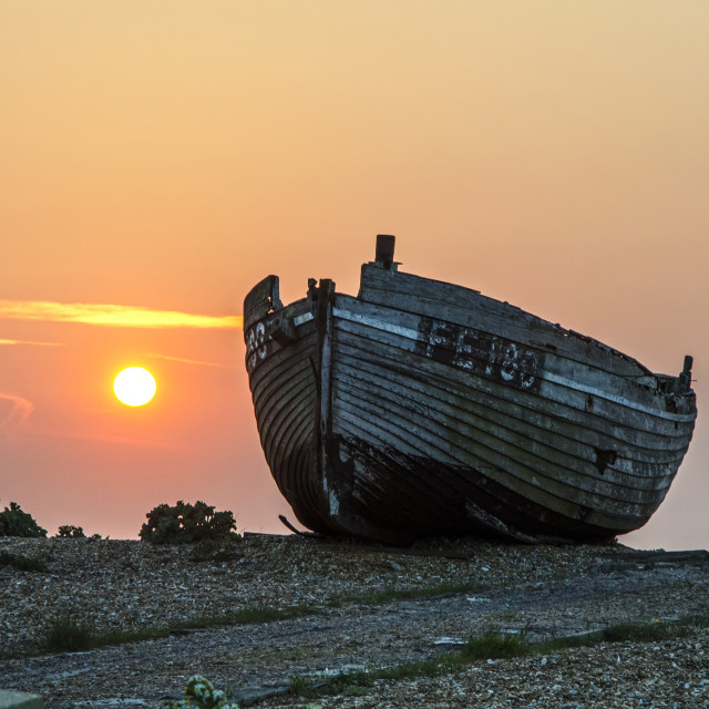 """Dawn on Dungeness"" stock image"