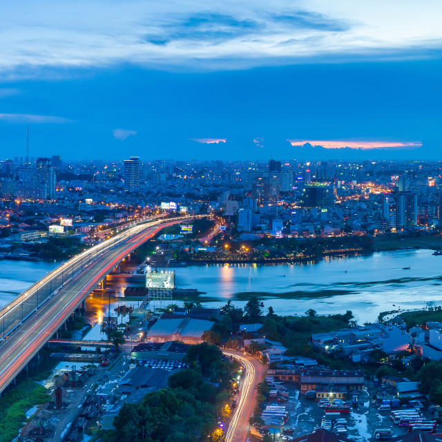 """Aerial view of Saigon Brigde at night"" stock image"