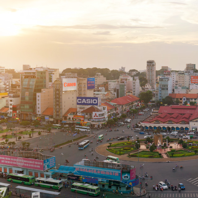 """aerial view of BEN THANH market"" stock image"