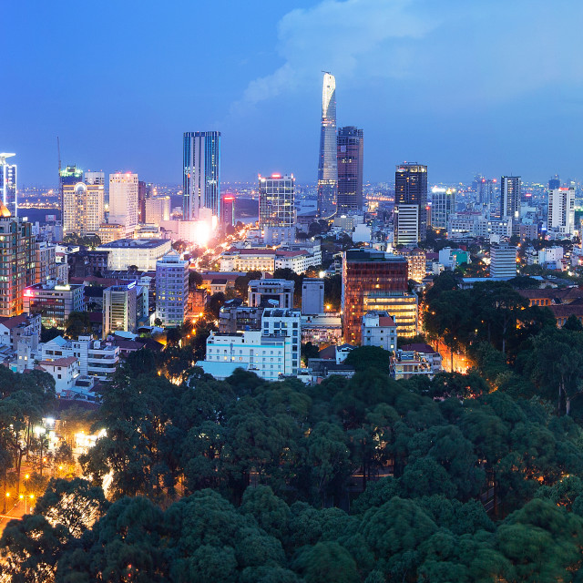 """aerial view of Ho Chi Minh City downtown at night"" stock image"
