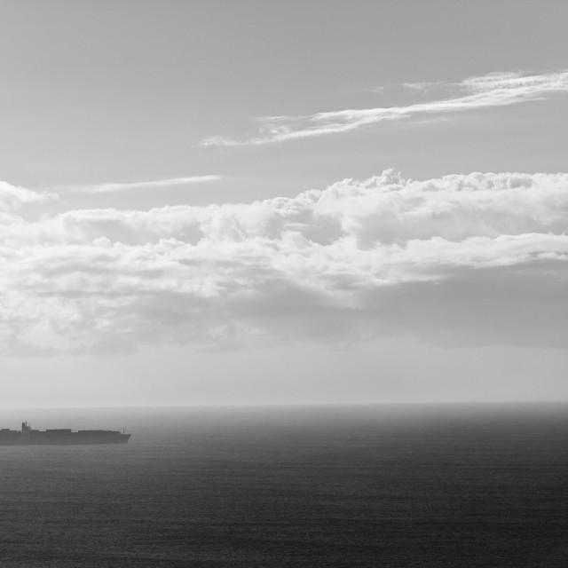 """Ship Destination Black White"" stock image"