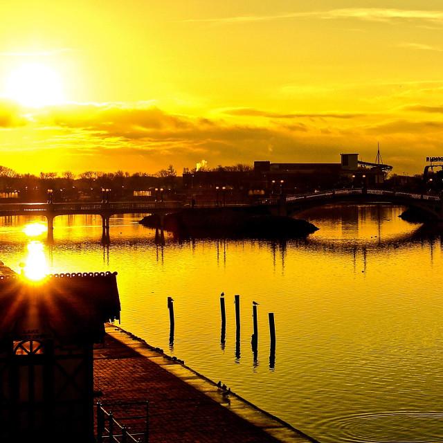 """Sunset Lake 3"" stock image"