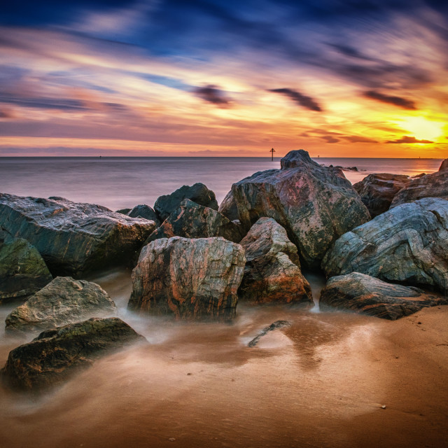 """""""Winter Sunset Over West Clacton"""" stock image"""