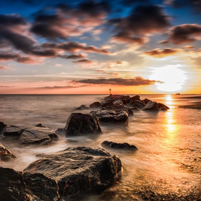 """Christmas day Sunset Off the English Coast"" stock image"