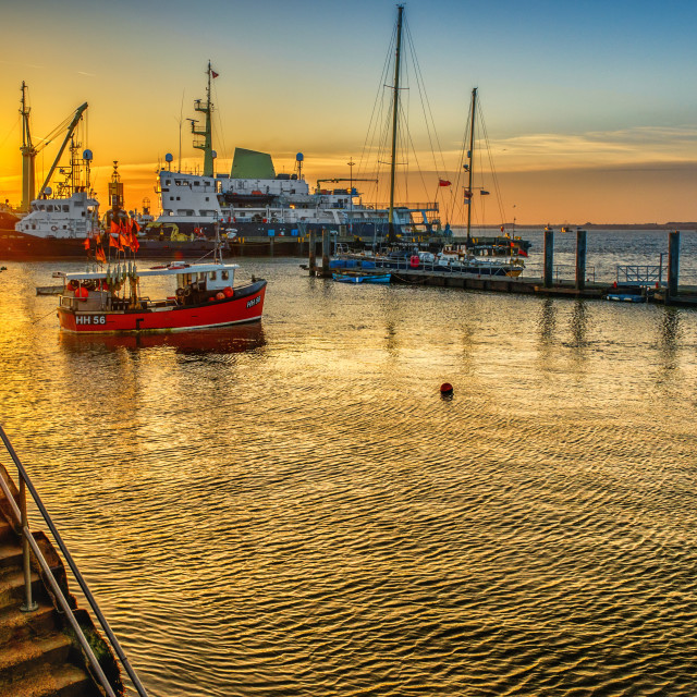 """""""Moored Craft off Harwich Pier"""" stock image"""