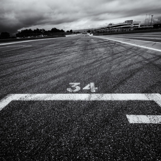 """On the Grid at Paul Ricard"" stock image"