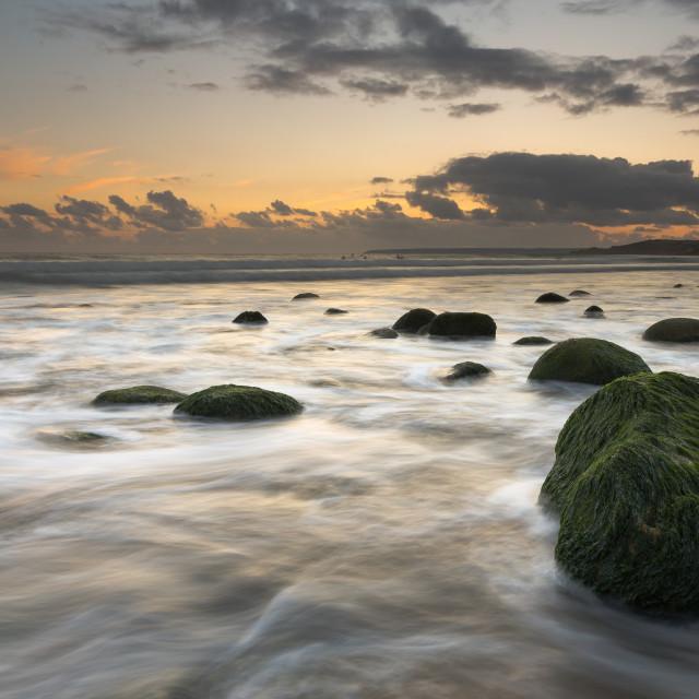 """Cornish Sunset, Last Light"" stock image"