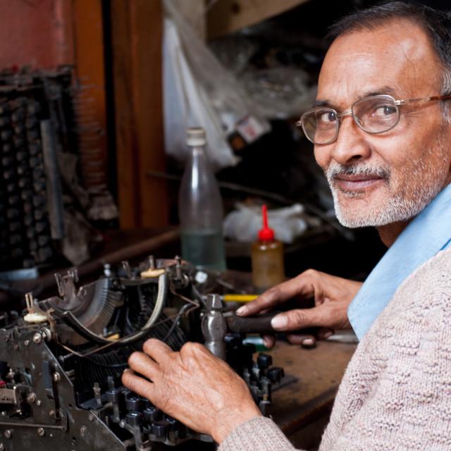 """Typewriters fixing"" stock image"