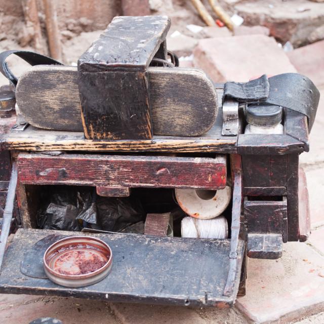 """Shoeshine toolkit"" stock image"