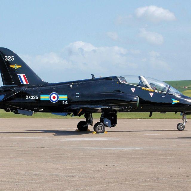 """BAe Hawk T.1A at Duxford"" stock image"