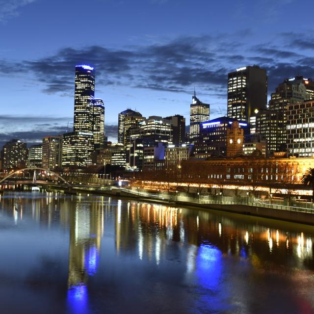 """Melbourne City Twilight"" stock image"