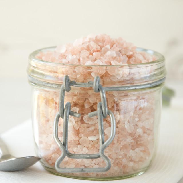 """""""Himalayan rose pink sea salt crystals"""" stock image"""