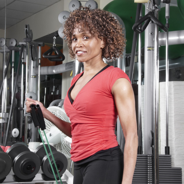 """Fitness woman in red top"" stock image"