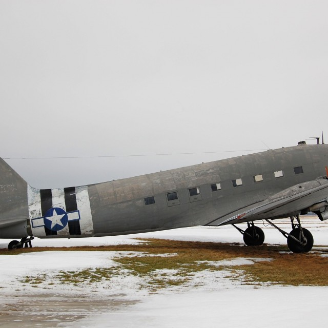 """C-47A in winter"" stock image"