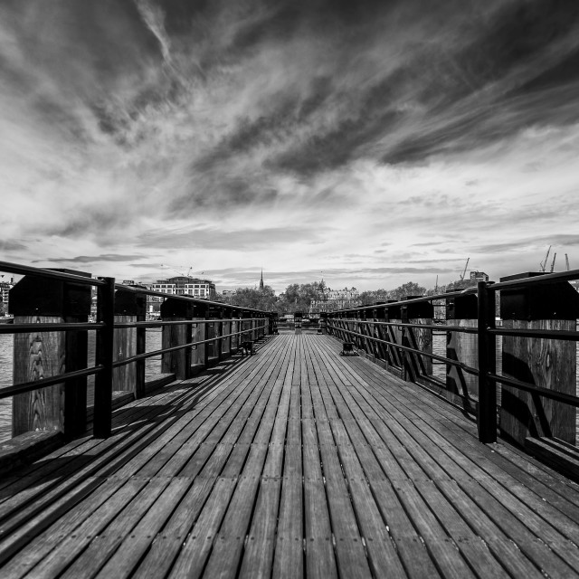 """Pier on the River Thames"" stock image"