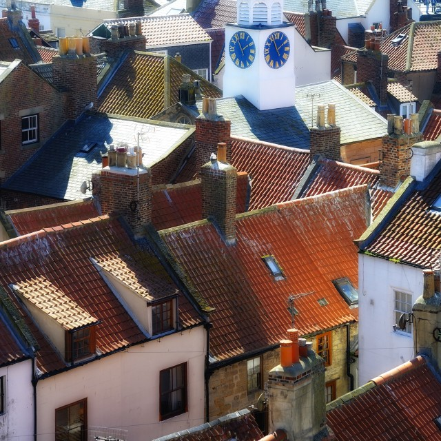 """""""Whitby Rooftops."""" stock image"""