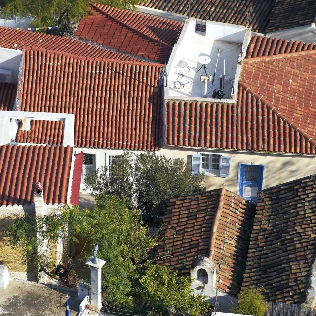 """Anafiotika, an ""island"" under Acropolis, Athens Greece"" stock image"