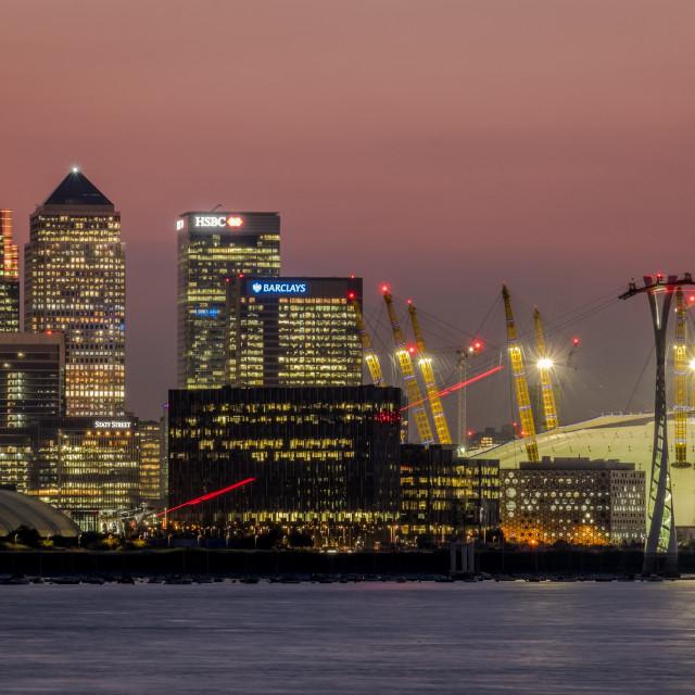 """Canary Wharf & the O2 Arena"" stock image"