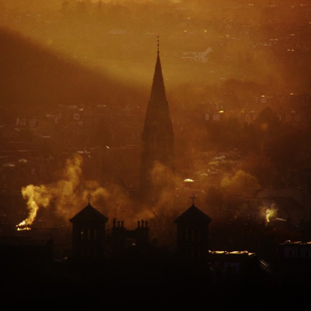"""Edinburgh at dusk"" stock image"