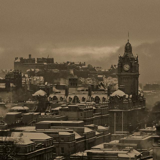 """City of Edinburgh in Winter"" stock image"