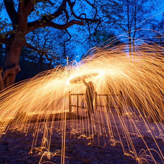 """Burning wire wool fire and sparks"" stock image"